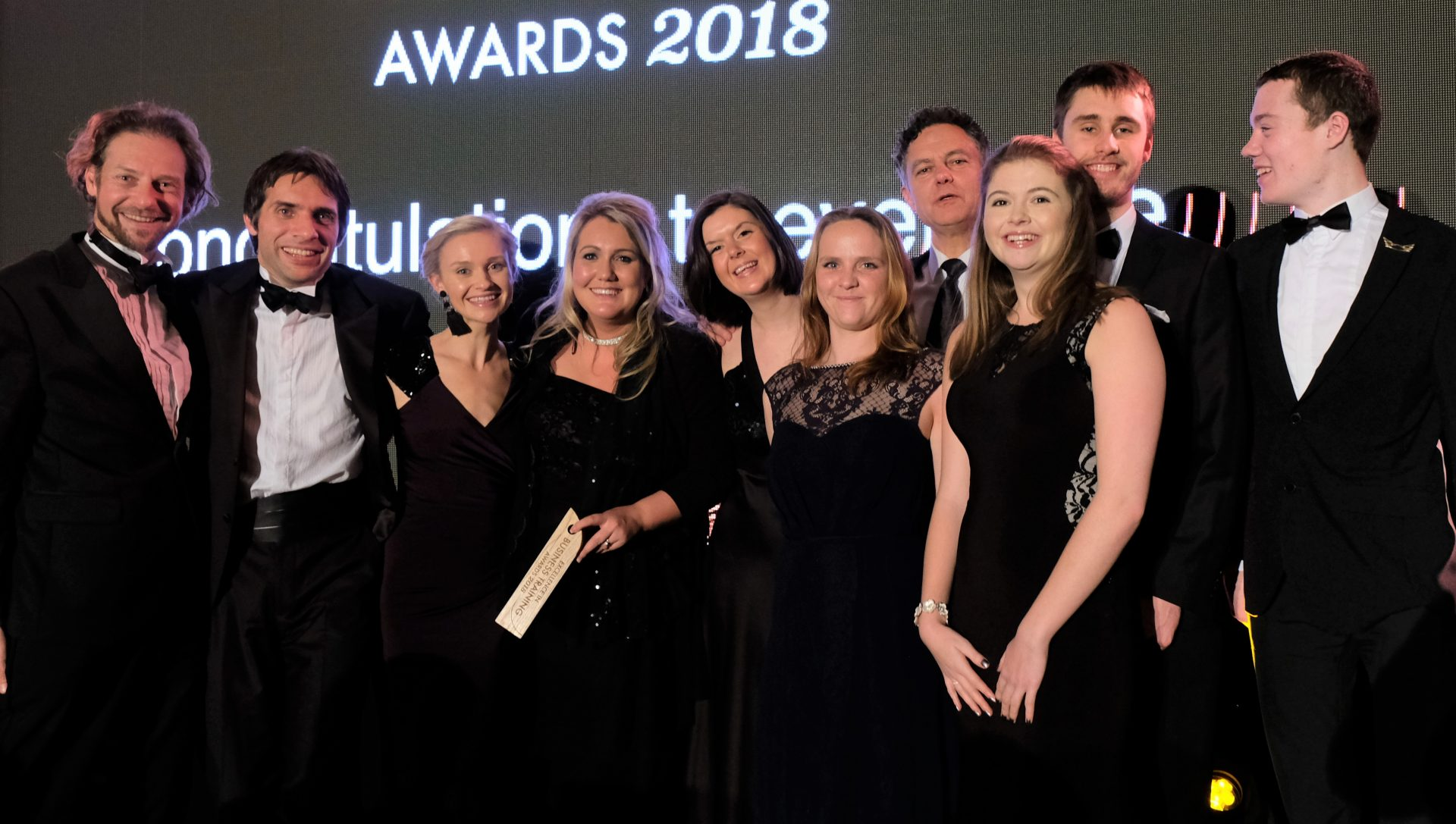 Staff and trainees at the Business Training Awards 2018