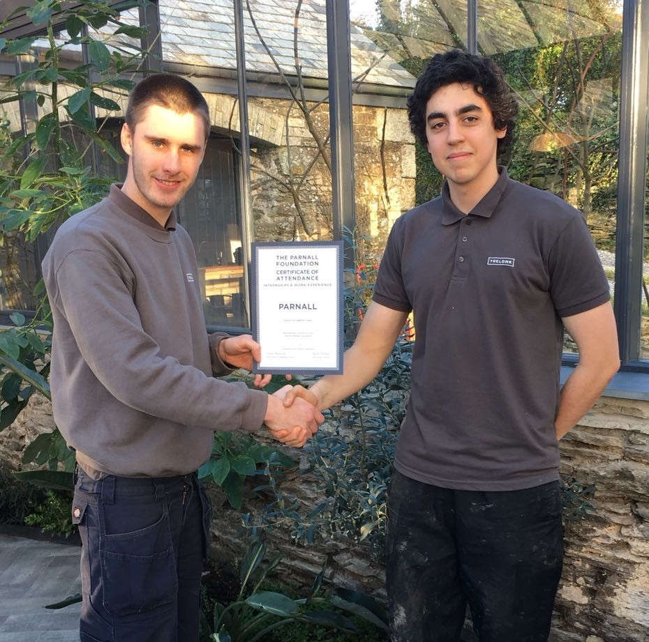 Bradley presents Daryll with certificate - The Parnall Foundation